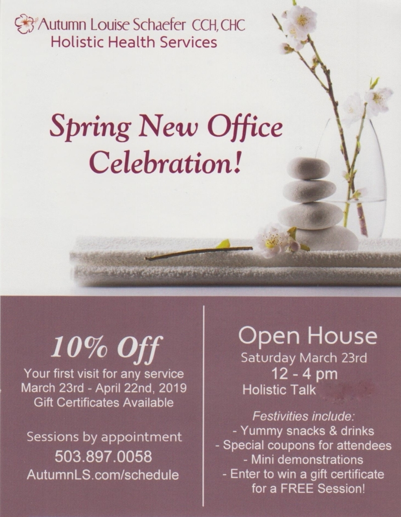 Image of cherry blossom flower. Spring New Office Celebration! Offering Holistic Complementary Care in NW Portland. Saturday March 23rd. 12 - 4 pm. Enjoy: Snacks & drinks, Holistic talk, Special coupons, Demos, Free giveaways @ 1722 NW Raleigh St #221, Portland, OR 97209